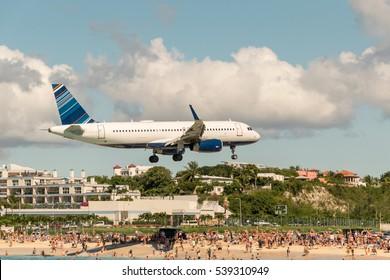 Maho Beach plane landing. St. Marten.