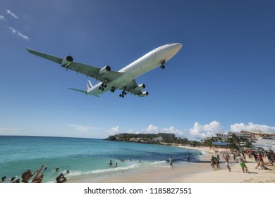 Maho Beach, Sint Maarten - 20th of October 2016: Low Flying Plane taken in 2015