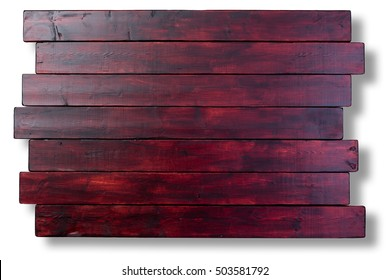 Mahogany stained staggered wooden boards background texture with copy space over a white background