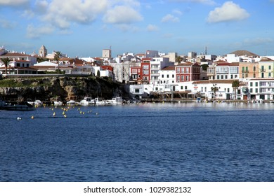 MAHON, SPAIN. JANUARY 24: Villas and apartments in the coast of Mahon, the capital of the Mediterranean island of Menorca, Spain; on january 24, 2018 in Menorca.