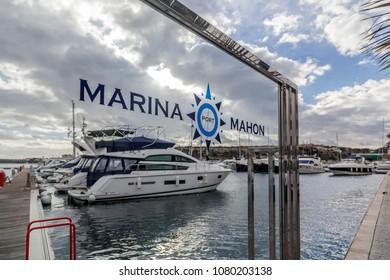 MAHON,SPAIN-JANUARY 14,2013:Marina, port of Mahon, Minorca island, Balearic islands.