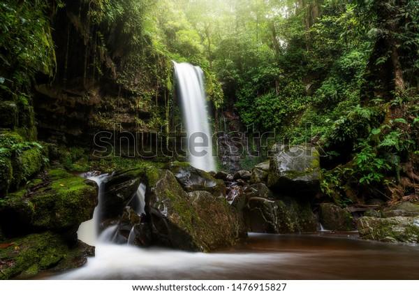 Mahua Waterfall Crocker Range National Park Nature Stock Image 1476915827