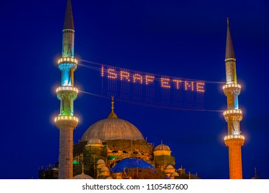 Mahya lamps in New Mosque minaret.Write,Do not waste/Eminonu,Istanbul,Turkey,31 May 2018