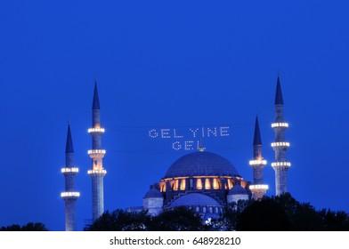 Mahya, Suleymaniye Mosque Minaret, Istanbul, Turkey