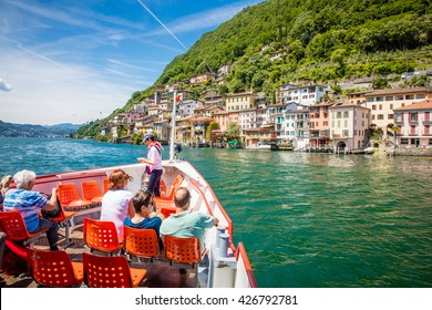 Mai 2016 - Lugano Switzerland: Boat tour on the beautiful lake of Lugano