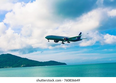 MAI KHAO BEACH, PHUKET, THAILAND - December 24, 2015: Landing airplane of Aeroflot.