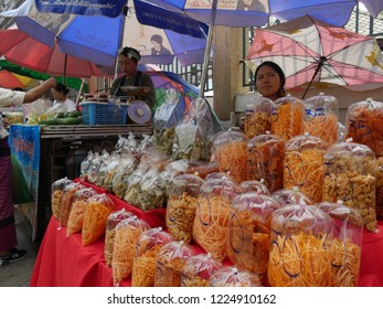 MAI SAI, THAILAND—MARCH 2018: Assorted displays of  nuts and Thai delicacies in Mai Sai, the last city bordering Thailand and Myanmar