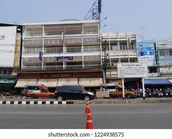 MAI SAI, THAILAND—MARCH 2018: Bsuiness establishments along the road in Mai Sai, the last city bordering Thailand and Myanmar.