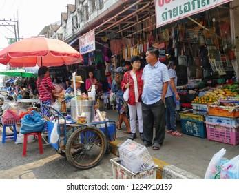 MAI SAI, THAILAND—MARCH 2018: Busy streetside in Mai Sai, the last city bordering Thailand and Myanmar.