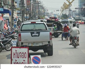 MAI SAI, THAILAND—MARCH 2018: Light traffic in Mai Sai, the last city bordering Thailand and Myanmar.
