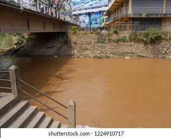 MAI SAI, THAILAND—MARCH 2018: Sai River in Mai Sai bordering Thailand and Myanmar.