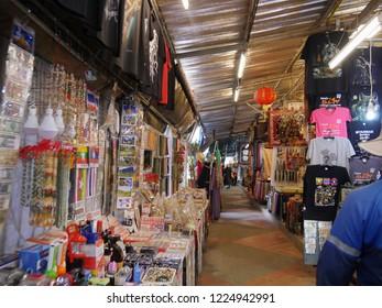 MAI SAI, THAILAND—MARCH 2018: Row of stall selling assorted jewelry, goods and merchandise in Mai Sai near the Thai-Burmese gate.