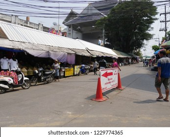 MAI SAI, THAILAND—MARCH 2018: Rows of stalls selling assorted items and merchandise at Mai Sai, the last city bordering Thailand and Myanmar.
