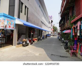 MAI SAI, THAILAND—MARCH 2018: Stalls displaying colorful textile in Mai Sai near the Thai-Burmese gate.