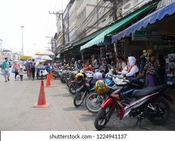 MAI SAI, THAILAND—MARCH 2018: Streetside scene in Mai Sai, the last city bordering Thailand and Myanmar.