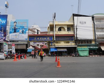 MAI SAI, THAILAND—MARCH 2018: Wide street shot of hotels and business establishments in Mai Sai, the last city bordering Thailand and Myanmar.
