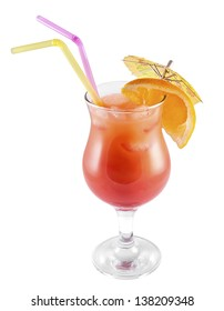 Mai tai cocktail drink isolated on white background