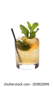 Mai tai cocktail isolated on white background