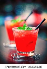 Mai Tai cocktail on a bar counter