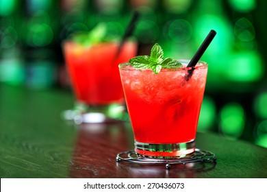 Mai Tai cocktail shot on a bar counter in a nightclub