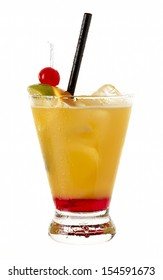 Mai Tai drink cocktail against white background vertical