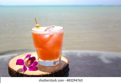 Mai Tai  drink on beach bar. Close up of alcoholic drink.
