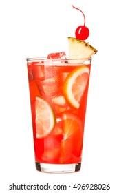 Mai Tai Fruit Punch Alcoholic Cocktail drink on White