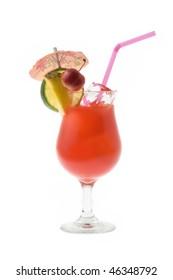 Mai Tai mixed drink with fruit and umbrella garnish on white background