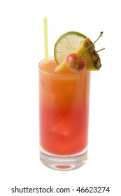 Mai Tai mixed drink with fruit garnish on white background