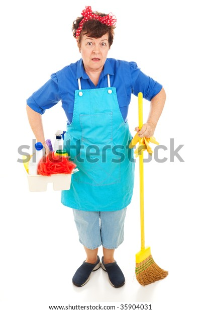 Maid with her cleaning equipment, wearing a very surprised expression.  Full body isolated on white.
