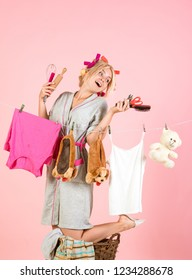 Maid or housewife cares about house. Vintage housekeeper woman. Multitasking mom. Performing Different Household Duties. Busy mother. happy retro housewife. Positive housewife.