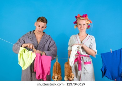 Maid or housewife cares about house. Vintage housekeeper woman. Multitasking mom. Performing Different Household Duties. Man and woman. Love. family couple. retro housewife. Feeling offended.