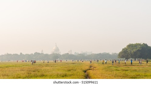 Maidan park in Kolkata (Calcutta) with the Victoria Memorial