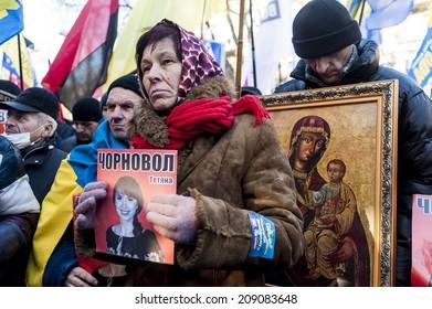 Maidan - protester at rally to save journalist Chornovol