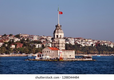 Maiden Tower and Bosphorus in Istanbul, Turkey.