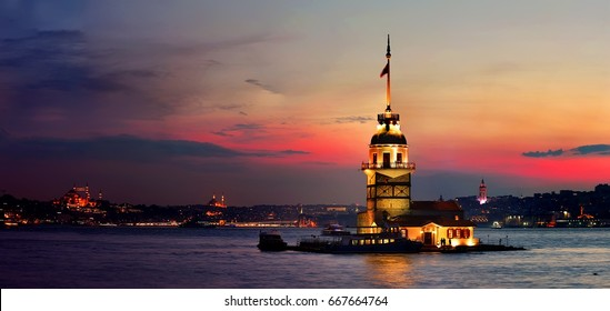 Maiden Tower in Istanbul in the evening, Turkey