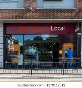 Maidenhead, United Kingdom - September 01 2018:   Entrance to Sainsburys local in Queen St