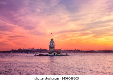 Maiden's tower in istanbul beautiful colorful sunset (Turkish:Kiz Kulesi) from Uskudar. Istanbul symbol. Romantic Istanbul Sunset Landscape. Istanbul Bosphorus and Maiden's Tower amazing view, Turkey