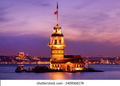 Maiden's tower in istanbul beautiful colorful sunset (Turkish:Kiz Kulesi) from Uskudar. Istanbul symbol. Romantic Istanbul Sunset Landscape. Istanbul Bosphorus and Maiden's Tower amazing lights Turkey