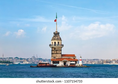 The Maidens Tower in Istanbul. From the icons of Istanbul. A historical tower on a small island in the Bosphorus.  It still functions as a restaurant. Turkey, May 2016