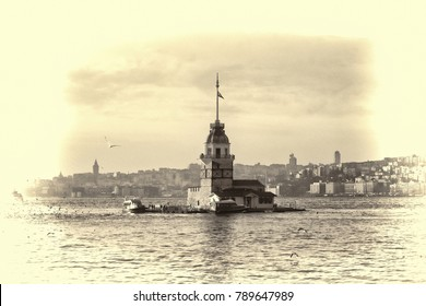 Maiden's Tower (Kiz Kulesi) at Bosphorus, Istanbul. One of the symbols of Istanbul. Retro Effect