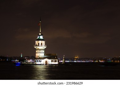 Maidens Tower at Night in Istanbul City, Turkey