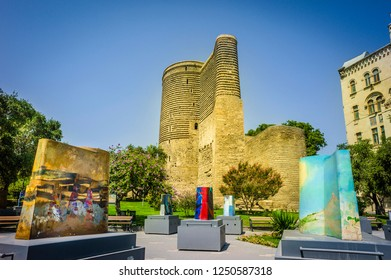 Maiden's Tower in the Old City. Ancient girl tower in the old city center of the capital with blue sky in the background. Azerbaijan Baku. 12 october 2017
