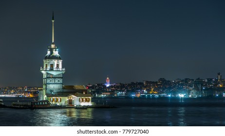 The Maiden's Tower timelapse at blue hour, since the medieval Byzantine period, is a tower lying on a small islet located at the southern entrance of the Bosphorus in Istanbul, Turkey. Galata tower