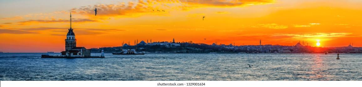 The Maiden's Tower, Topkapi Palace, New Mosque, Blue Mosque (Sultanahmet Camii), Hagia Sophia (Ayasofya) Beautiful sunset Panoramic istanbul. Istanbul, Turkey