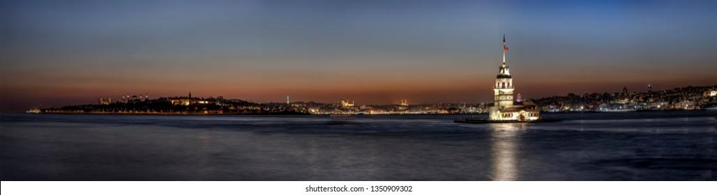 The Maiden's Tower, Topkapi Palace, New Mosque, Blue Mosque (Sultanahmet Camii), Hagia Sophia (Ayasofya) Beautiful sunset Panoramic istanbul. Istanbul, Turkey.