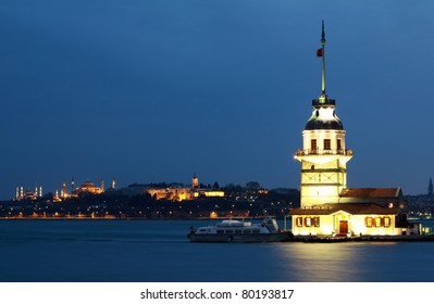 The Maiden's Tower witn Hagia Sophia, Sultanahmet Mosque and Topkapi Palace.
