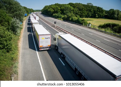 MAIDSTONE, KENT, UK, JULY 2015 - Operation Stack in place on the M20, due to the Port of Calais being closed because of industrial action in France