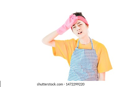 Maid,Young woman wore yellow t-shirt,blue apron and Pink cleaning rubber gloves, isolated on white background