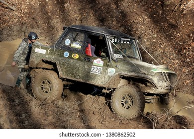 Maikop Adigeia Region,Russian Federation 02.24.2017 :Test cars-cross country terrain and off-road.